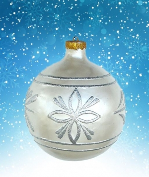 Christmas Decor Ball White w/Silver 2.5ft (JR 1192-A)