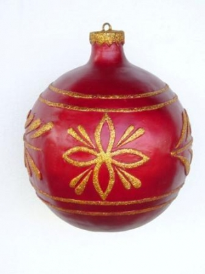 Christmas Decor Ball Red w/Gold 1.5ft (JR 1193-C)