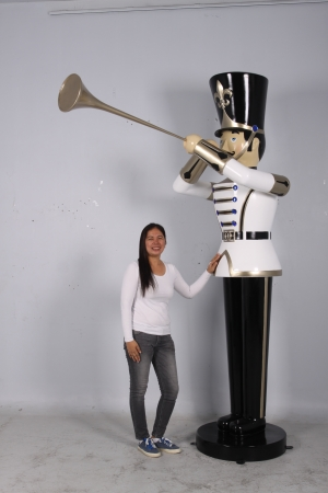 Toy Soldier with Trumpet 9ft - White, Gold & Black (JR 140008WGB)