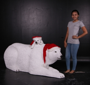 Polar Bear with cub- Xmas Version (JR 160060X)