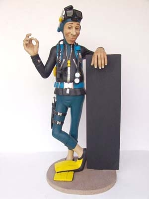 Funny Scuba Diver with Menu Board Life-size (JR DE)