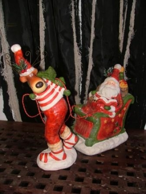 "Christmas Reindeer with Santa & Sleigh 16"" (JR PP8059)"