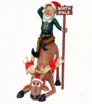 Funny Reindeer with Elf at North Pole (JR EF)