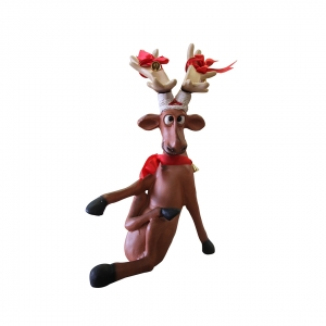 Funny Reindeer standing on crossed legs (JR S-017)