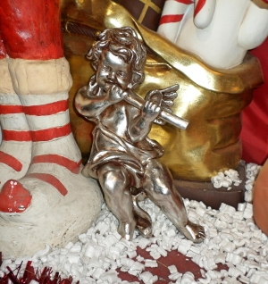 Angel hanging with flute (JR 314-AS) - Silver Leaf