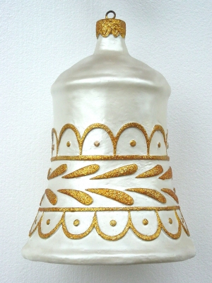 Christmas Decor Bell White w/Gold (JR 1189-F)