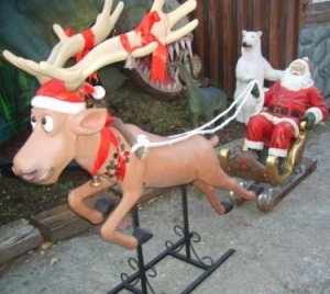 Funny Reindeer with Santa & Sleigh (JR 2295)