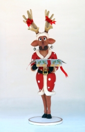 Funny Reindeer Female with Christmas Box 6ft (JR IX) - Thumbnail 01