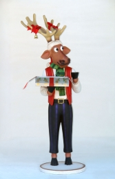 Funny Reindeer Male with Christmas Box 6ft (JR IW) - Thumbnail 01