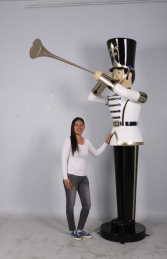 Toy Soldier with Trumpet 6ft - White, Gold & Black (JR 140008WGB)