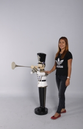 Toy Soldier with Trumpet 4ft- White, Gold & Black (JR140009WGB) - Thumbnail 01