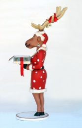 Funny Reindeer Female with Christmas Box 6ft (JR IX) - Thumbnail 02