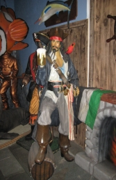 Captain Jack style Pirate with Beer & Barrel Life-size (JR 2518) - Thumbnail 01