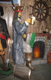Captain Jack style Pirate with Beer & Barrel Life-size (JR 2518) - Thumbnail 02
