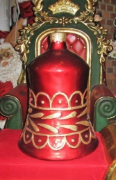 Christmas Decor Bell Red w/Gold (JR 1189-H) - Thumbnail 01