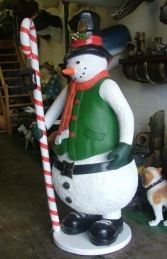 Snowman with Candy Cane Lantern 6ft (JR 2401) - Thumbnail 01