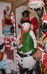 Snowman with Candy Cane Lantern 6ft (JR 2401) - Thumbnail 02