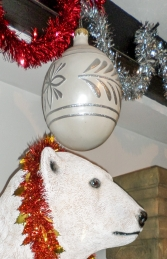 Christmas Decor Ball White w/Silver 2.5ft (JR 1192-A) - Thumbnail 02