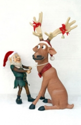 Funny Reindeer pulled by Elf (JR EG)