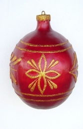 Christmas Decor Ball Red w/Gold 2.5ft (JR 1192-C)