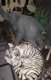 Bengal Tigress with Cub - Siberian White (JR 120011w) - Thumbnail 02