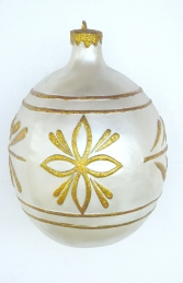 Christmas Decor Ball White w/Gold 2.5ft (JR 1192-B)