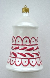 Christmas Decor Bell White w/Red (JR 1188-D) - Thumbnail 01