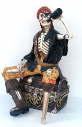 Skeleton Pirate sat on Treasure Chest Life-size (JR FJ) - Thumbnail 03