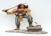 LIFESIZE LADY PIRATE WITH TREASURE CHEST STATUE